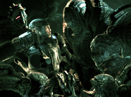 Marcus Fenix fighting the Locust Horde