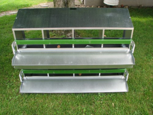 Roller egg compartment is located under the green roost bar.