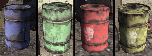 "Barrels of ""Borderlands:"" (from left to right) shock, corrosive, fire, explosion"