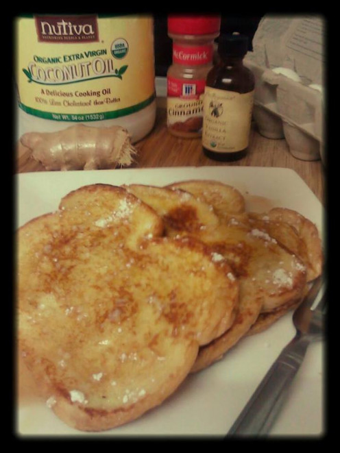 The best Ginger French Toast ever. Using Fresh Ginger Root and Organic Coconut Oil, this breakfast is delicious and nutritious.