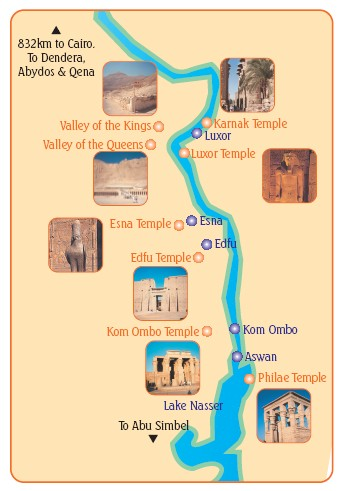 The stops on your Nile cruise