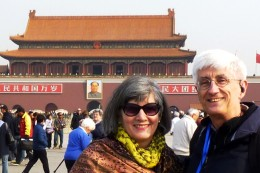 1 c) Us with Chairman Mao's photo in Tiananmen Square