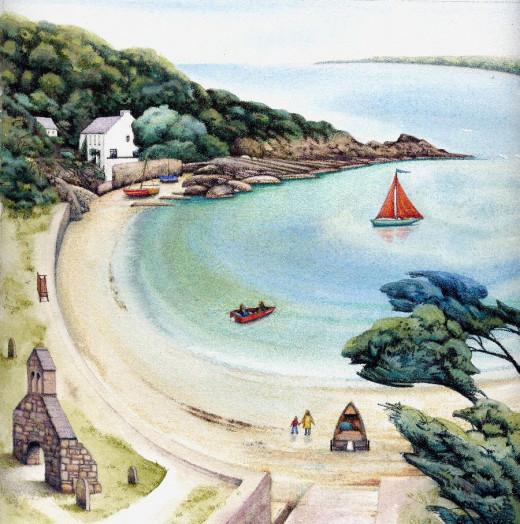 """""""Cwm yr Eglwys 2011"""" watercolour by Helen Lush"""