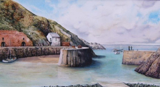 """Porthgain panorama"" watercolour by Helen Lush"
