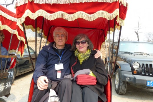 3 b) Us in a rick-sha, about to take a ride into a large Hutong area to see old Chinese homes and neighbourhoods