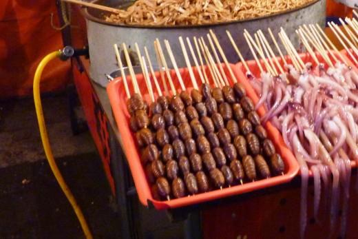7 b) Silk Worm Larvae for sale at The Wangfujing Night Food Market