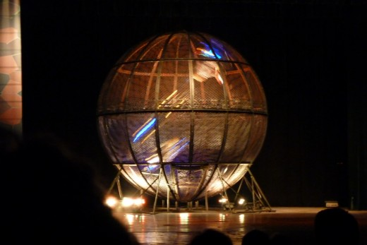 9 c) Sphere showing three motorcycles in it, however a total of eight were in it at one time at the Chinese Acrobatic show