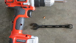 Tools needed to assemble the beds.  A drill with a Phillips head tip and a 7/16 wrench.