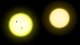 The Sun vs. Tau Ceti.  The Sun is slightly larger