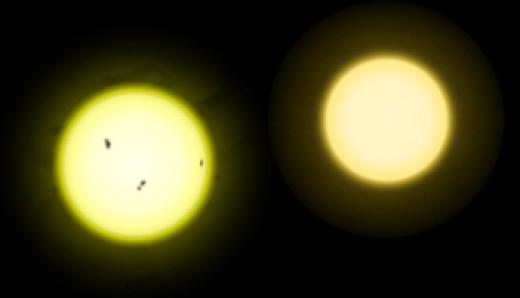 The Sun vs. Tau Ceti.  The Sun is slightly larger