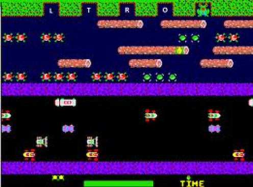 Frogger was ported to the Intellivision system. It was a famous Arcade and Atari game in which the player is a frog.