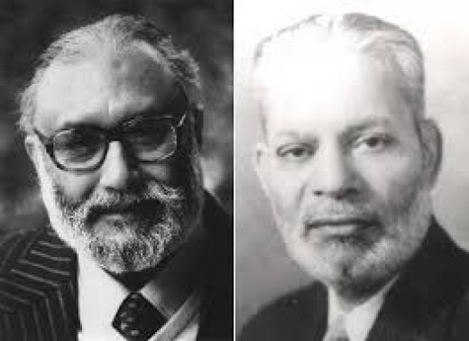 (Left) Nobel scientist, theory-founder for Higgs-Boson discovery Dr. Abdus Salaam, and (Right) Pakistan Foreign Minister and later President of UN General Assembly Sir Zafarullah Khan --- Devout Ahmadi-Muslims and. . cult members?