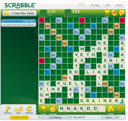 The new version of Scrabble for Facebook (2013). A game in progress