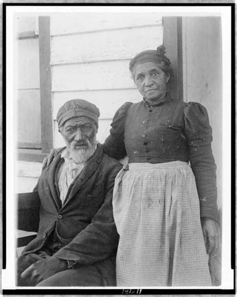 Elderly African American couple circa 1900