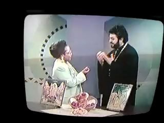 Me Hosting an Easter Special on Different Drummers with guest, Father Kris Kahulis mid-90's.