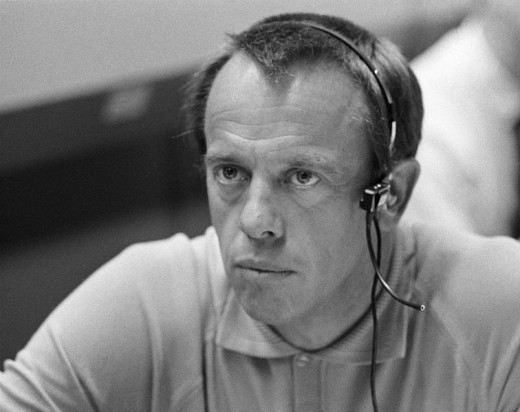 NASA astronaut Alan B. Shepard, Jr., the first American in space and the commander of the Apollo 14 mission to the moon, monitoring communications between the Apollo 13 spacecraft and Mission Control.