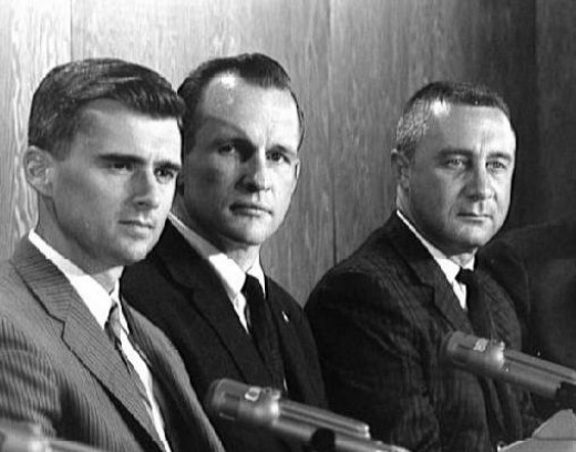 "Apollo 1 Crew, from left to right: Roger B. Chaffee, Edward H. White II, Virgil ""Gus"" Grissom."