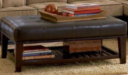 Ottoman with Open Shelf & Tufted Top Dark Brown Leather