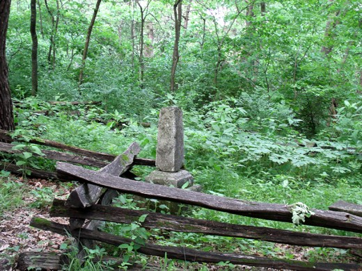 Walking up to the small cemetery along the hiking trail