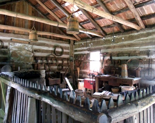 Inside a workshop replica in New Salem Village