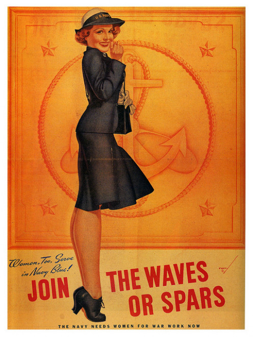 A Vintage WAVES recruitment poster. Women Accepted for Volunteer Emergency Services.