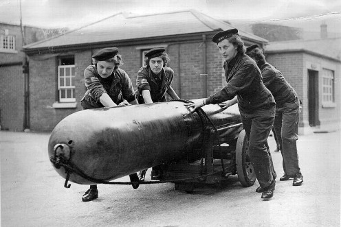 A vintage photo of women in action during World War 2.