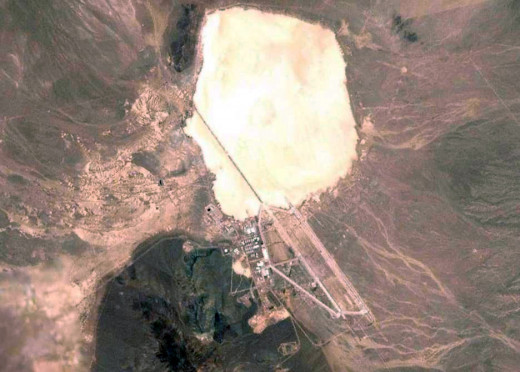 An aerial view of Area 51 and Groom Lake