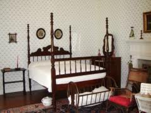 This is a picture of Helen Keller's bedroom where she grew up.