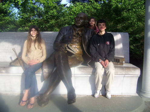 George Mason (with my kids), a slave holder, refused to sign the Declaration on the grounds that slavery ought be banned.   Jefferson incorporated his concepts into the framework of the Declaration of Independence. He sits near the Jefferson Memorial