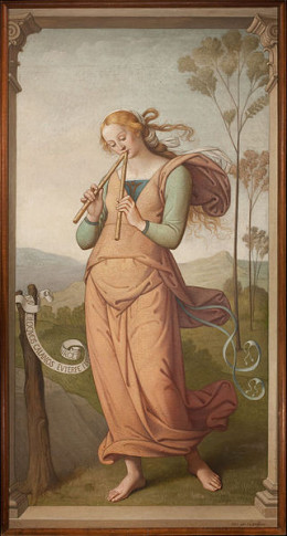 Euterpe, Muse of Lyric Poetry and Music was pained by Egide Godfried Guffens (1823-1901).