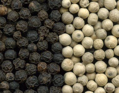 Black pepper is made by drying the whole fruit and is most common.  White peppercorns are just the seeds of the pepper fruit.