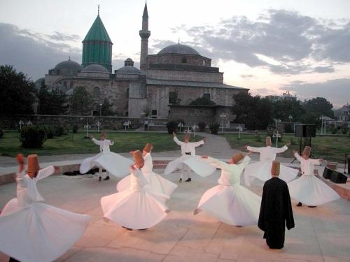 Whirling dervishes at Mausoleum of Mevlana, Konya, Turkey