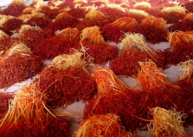 The saffron threads have to be collected by hand from the flowers and carefully dried.