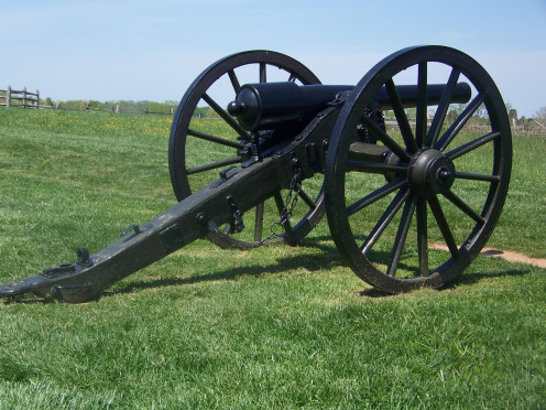 An original cannon on the Manassas battlefield.
