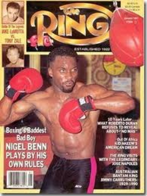 Nigel Benn, seen here on the cover of Ring boxing magazine was a former middleweight and super middleweight champion.