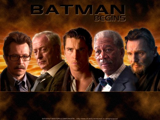 Michael Caine and Morgan Freeman among the cast of Batman Begins.