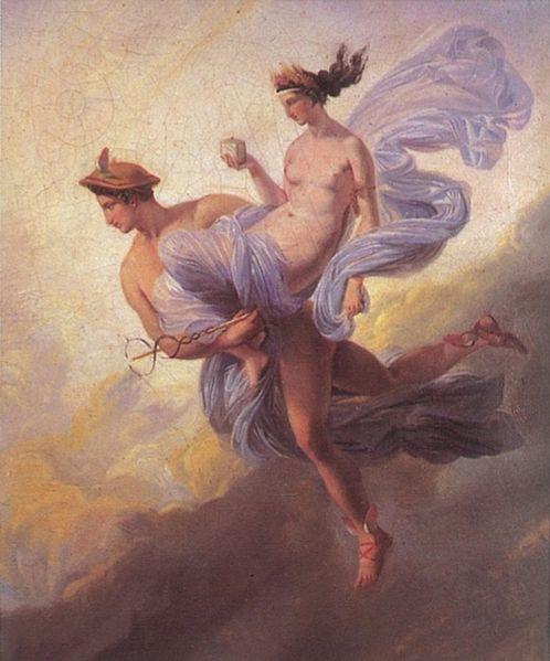 "Jean Alaux, ""Pandora carried off by Mercury."""