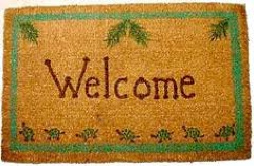 To decorate a welcome mat you will need patience. One of the most popular ways to fix your house mat up is to have words made into it such as welcome(Pictured).
