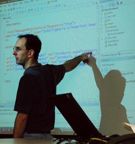 A teacher going through a code review