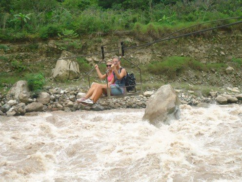 Inca Jungle Trail day 2: Crossing the raging river in a basket
