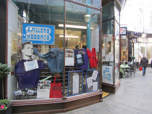 English: Spillers Records, the world's oldest record shop, at its new location in Morgan Arcade, Cardiff