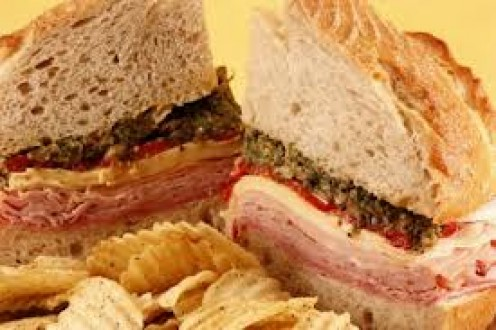 The Muffuletta sandwich is a great Italian meat hoagie, with olive salad mix.