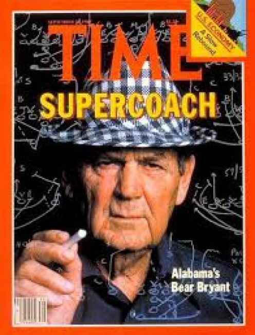 Paul Bear Bryant was a great college football coach for the Alabama Crimson Tide. He is a legend in Tuscaloosa, Alabama.