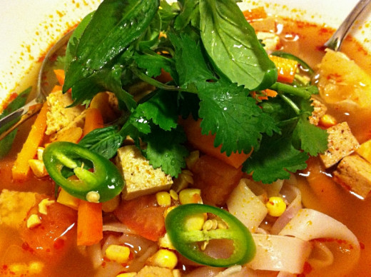 Fresh herbs add interest to the sweet and sour taste of homemade Thai Tom Yum Soups