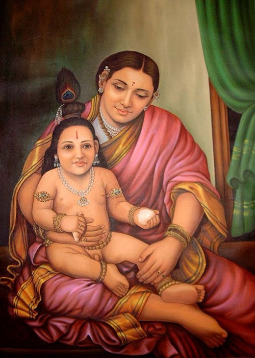 Lord Krishna in Lap of his Mother