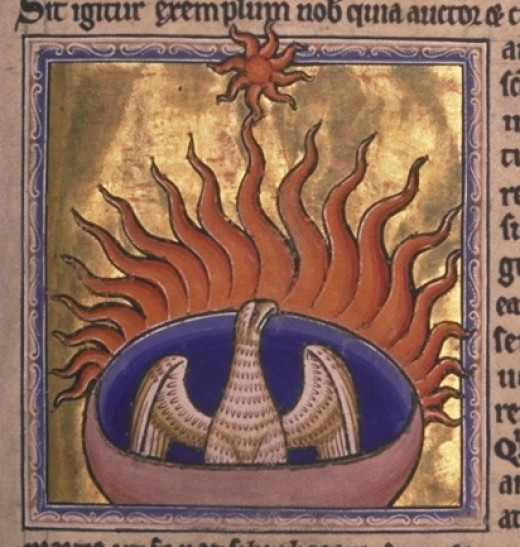 The phoenix in its burning nest of spices and leaves, preparing to be reborn.