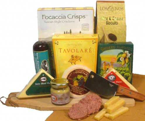 Delight Expressions® Meat and Cheese Pleaser Gourmet Food Gift Basket - A Father's Day Gift Idea