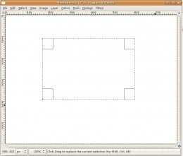 This shows the canvas after using the Rectangle Select Tool.