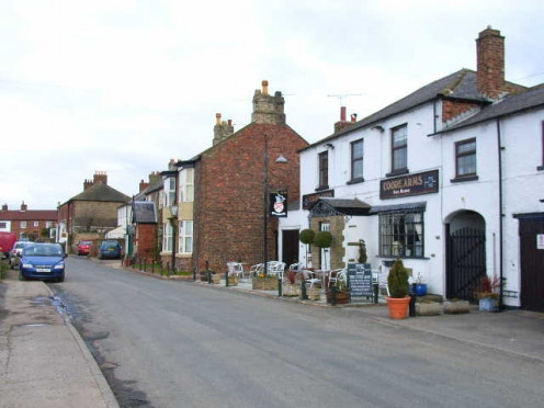 The main street in Scruton, Yorkshire, a Thankful Village.