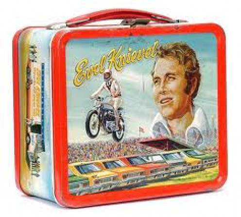 Evel Knievel had all kinds of merchandise for sale including lunch boxes for school. He is still a very popular celebrity in American culture.